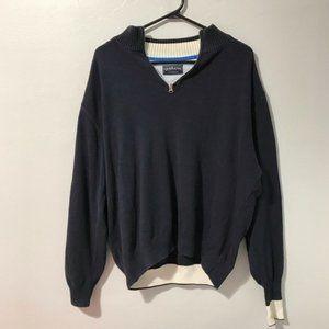 Uchikawa moda masculina navy quarter zip sweater